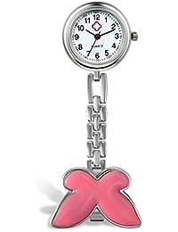 Lancardo Women's Pocket Watch, Nurse Watch, Analogue Quartz Watch with Butterfly Design Nurse's Watch, Purple, Green, Pink, Black