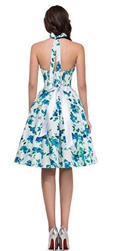 Eudolah Damen Kleider Halter Neckholder Rock Polka Dots 50S Retro Cocktail Dress Blau Weissblumen