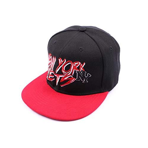 Casquette NY fitted noire et visière rouge - Mixte