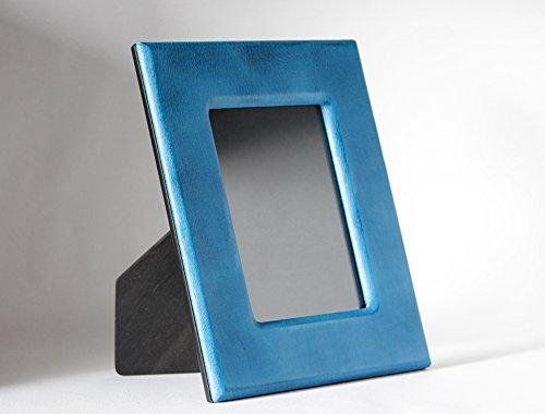 Bilderrahmen aus echtem Leder Florenz Handwerkskunst 100% Made in Italy Geschenk Hochzeit blau