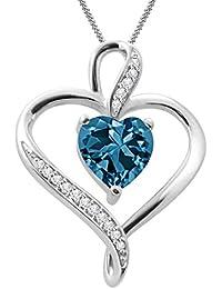"Silvernshine Women's 1.25 Ct Heart Cut Blue Topaz & Diamond Pendant Necklace, 18"" .925 Silver Chain"