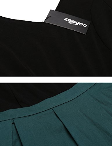 Zeagoo Damen Vintage 50er Jahre Kleid Rockabilly Cocktail Abendkleid Festliches Kleid 3/4 Ärmel V Ausschnitt A Linie Dunkelgrün XXL - 5