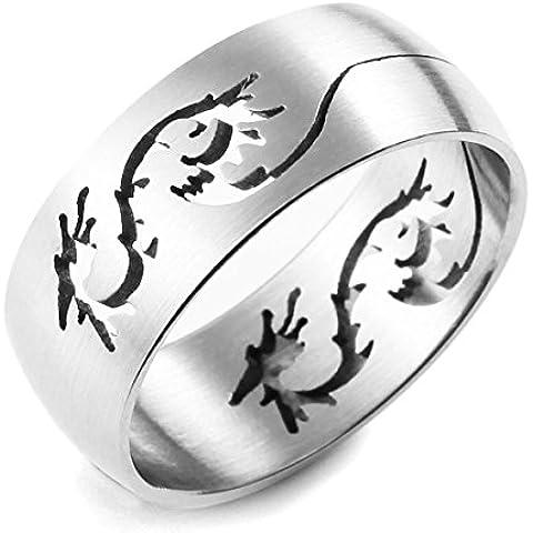 MunkiMix Acciaio Inossidabile Anello Anelli Banda Argento Drago Dragon Vuoto Uomo - Mens Anello Del Drago