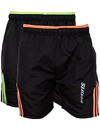 Rebizo Men's Dobby Shorts (Black,Large, Pack of 2)