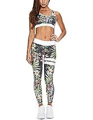 c6a1784956fd Inlefen Sportswear da Donna 2 Pezzi/Set Tuta Alta Elasticità Abbigliamento  Sportivo Halter Top Sportivi