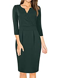 MISSKY Women's V-Neck Work Business Bodycon Pencil Dress
