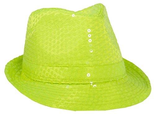 Folat 24055 Tribly Party Hut Deluxe mit Pailletten, Unisex-Erwachsene, Neon Gelb, Einheitsgröße
