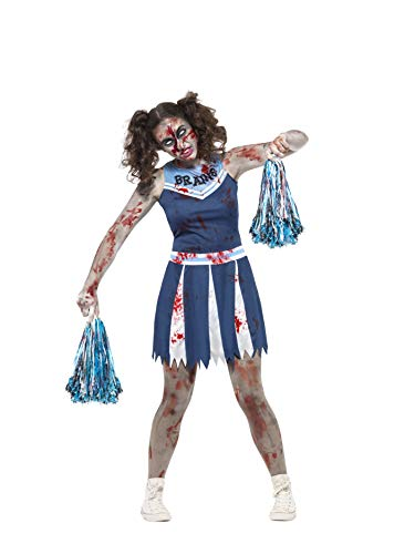 Poms Pom Kostüm Cheerleader - Smiffy's 45614XS - Zombie Cheerleader Kostüm mit Dress und Pom Poms