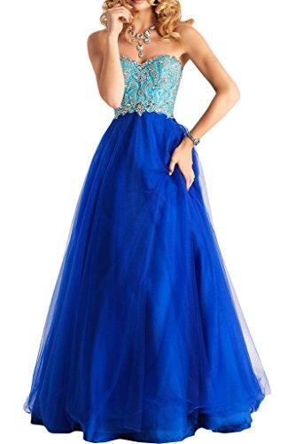 Victory Bridal Traumhaft Spitze Tuell Abendkleider Partykleider Promkleider Lang A-linie Prinzess Rock Royal Blau