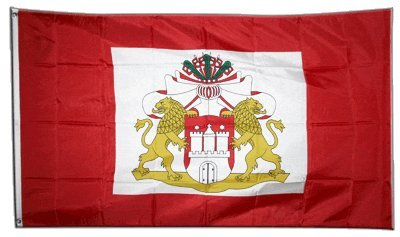 Fahne / Flagge Deutschland Hamburg Senat + gratis Sticker, Flaggenfritze®