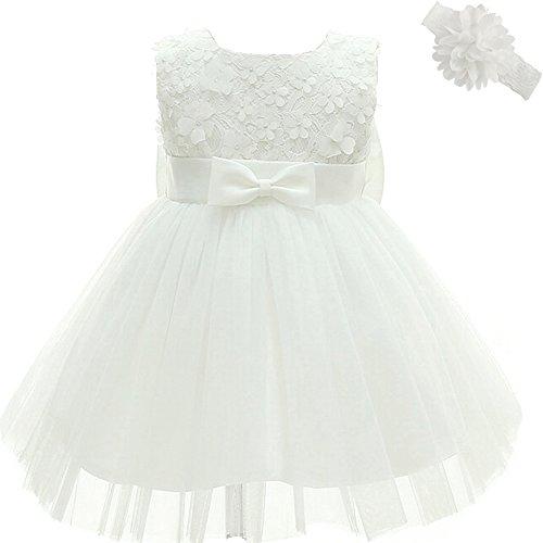 AHAHA Baby Mädchen Prinzessin Kleid Blumenmädchenkleid Taufkleid Festlich Kleid Hochzeit Partykleid Festzug Babybekleidung-6M/6-12monat-Weiß