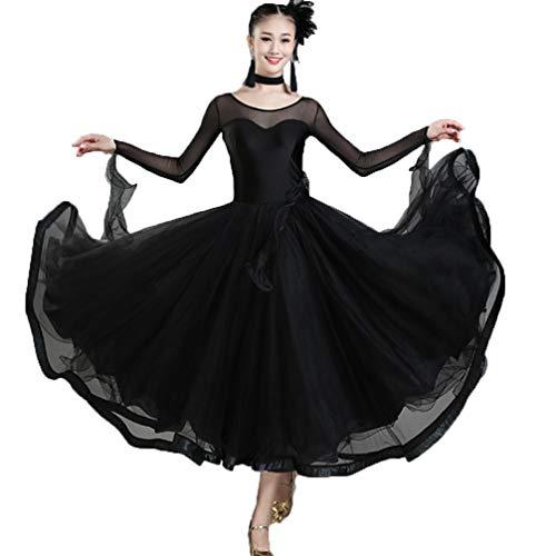 (Ballsaal Tanzkleider Frauen Leistung Tüll Stitching Lange Ärmel Natürliches Kleid/Moderner Tanz Elastisch Walzer Wettbewerb Tanzrock, XXL)
