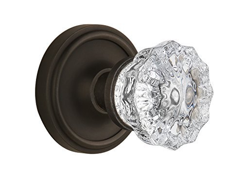 Nostalgic Warehouse BN22-CLACRY-OB Classic Rosette with Crystal Double Dummy Knob, Oil Rubbed Bronze by Nostalgic Warehouse -