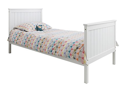 Single Bed in White 3ft Single Bed Wooden Frame Portland