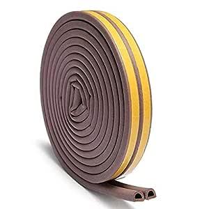 Chias D Shaped (Brown) Self-Adhesive Epdm Doors and Windows Foam Seal Strip Rubber Weatherstrip 5 Meter (2 X 2.5 M = 5 Meter)-Pack of 1