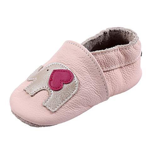 iEvolve Baby Mädchen Jungen Sterne Babyschuhe Baby Weiche Sohle Lederschuhe Baby Lauflernschuhe Krabbelschuhe(Rosa Elefant,12-18 Monate)