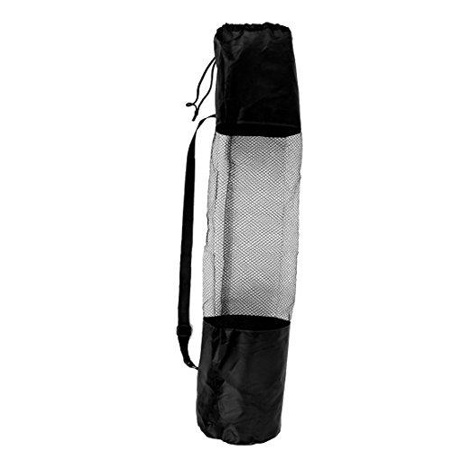 sourcingmap® 67cmx22cm Schwarz Nylon Verstellbar Riemen Yoga Pilates Matte Pad Netz Tragetasche