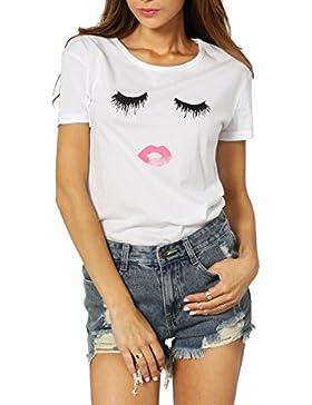[Patrocinado]ROMWE Moda Algodón T-Shirt Mujer Linda Redondo Camisetas Para Estampar Señoras Tops