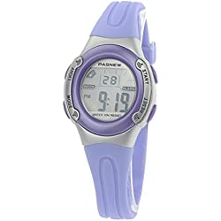 Pixnor PASNEW PSE-226 Waterproof Children Boys Girls LED Digital Sports Watch with Date Alarm Stopwatch (Light Purple)