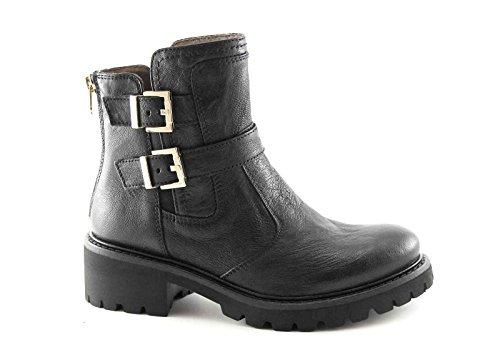 BLACK GARDENS A616531 schwarze Stiefel Frau Reißverschluss Ferse elastische Schnallen Nero