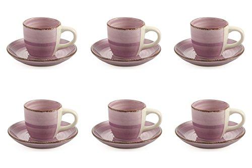 VILLA D'ESTE Baita Set Espressotassen mit Untertassen, emailliertes Steinzeug Handbemalt, Violett, 6...