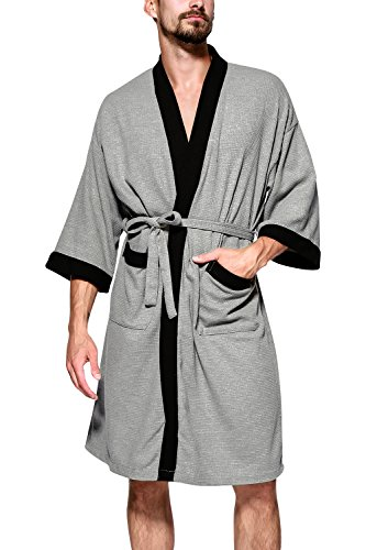 Baumwolle Lange Ärmel Robe (Dolamen Unisex Damen Herren Morgenmantel Bademäntel, Weich u. Leicht Baumwolle Waffelpique Nachtwäsche Nachthemd Robe Negligee locker Schlafanzug, für Spa Hotel Sauna (Large/ EU M, Grau))