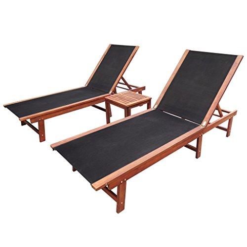 vidaXL 3tlg. Sonnenliege Set Garten Relaxliege Tisch Gartenmöbel Garnitur Akazie