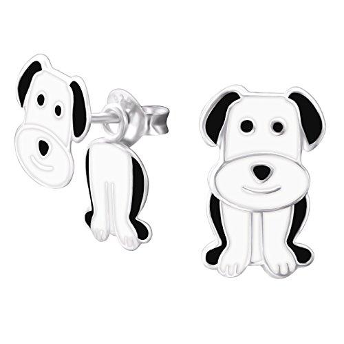 Plata de ley pendientes de perro - 3D con efecto de doble-up delantero y trasero de diseño