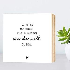 Wundervolles Leben - einzigartiges Holzbild 15x15x2cm zum Hinstellen/Aufhängen, echter Fotodruck mit Spruch auf Holz - schwarz-weißes Wand-Bild Aufsteller zur Dekoration oder Geschenk
