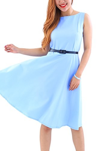 YMING Damen Partykleid Retro Cocktailkleid Tee Kleid Hepburn Stil Vintage Kleid Plus Größe,Hellblau,XXL/DE 44-46