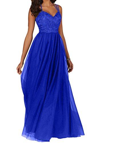 La_Marie Braut Schokobraun Attraktive Spitze Brautmutterkleider Promkleider Partykleider Abendkleider Lang A-linie Royal Blau