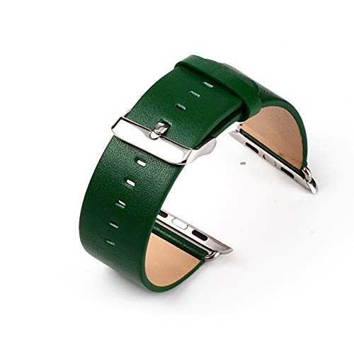 CLEAVE WAVES Iwatch Band 44Mm, Sliver Verschluss Echtes Leder Ersatzband Kompatibel Mit Apple Watch Series 4 40Mm,Green Apple Green Leder