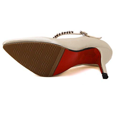 GS~LY T-fibbia scarpe scarpe a punta tacco stiletto in raso apricot