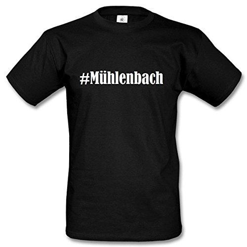 ... Farben Schwarz und Weiss Schwarz. T-Shirt #Mühlenbach Hashtag Raute für Damen  Herren und Kinder ... in