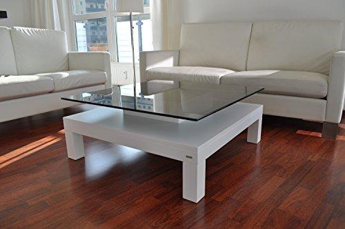 Carl Svensson Design Couchtisch Glas Tisch V-570 / V-570H Milchglas/getöntes Glas (V-570H Weiß mit getöntem Glas Glas)