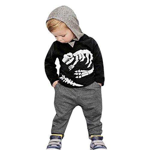 SMARTLADY 2~6 años Niños Dinosaurio Huesos patrón Camiseta con capucha Manga larga + Pantalones Otoño Invierno Ropa Conjunto (4 años, Negro)