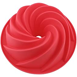 Vicloon Silicona Bundt Sartenes Bundt Latas, Molde de Silicona para Bizcochos, 9 Pulgadas Rojo
