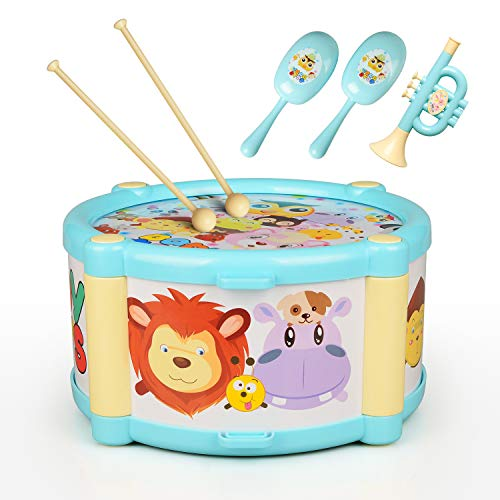 Tamburin Set Kinder Trommel ValueTalks Musikalische Spielzeug 6pcs Musikinstrumente Trommel Lernspielzeug Geschenk für Baby Kinder