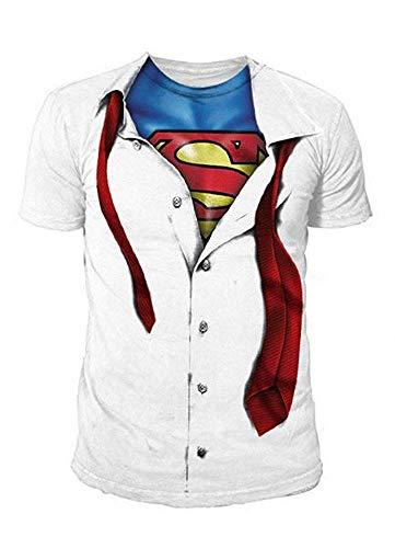 Superman Herren Logo T-Shirt Clark Kent - Man of Steel (Weiss) (S-XXL) (XXL)