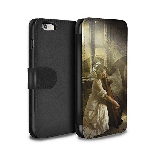 Officiel Elena Dudina Coque/Etui/Housse Cuir PU Case/Cover pour Apple iPhone 6 / Mélodie du Silence Design / Réconfort Musique Collection Harpe/Harpiste