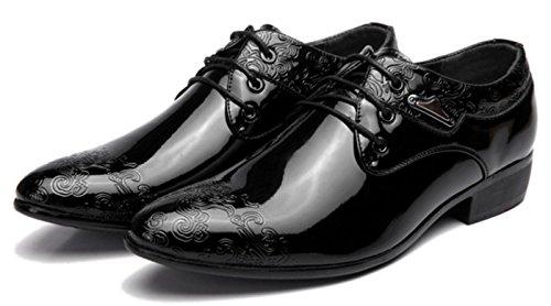 Nspx Chaussures Habillées Pour Hommes Chaussures En Cuir Brillantes Pour Hommes Chaussures De Mariage Oxford, 44, Noir Black-38