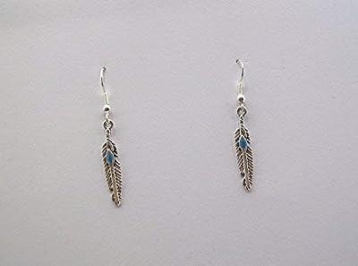 """Boucles d'oreilles""""esprit Amérindien, Collection Feather, plumes argent coeur bleu"""