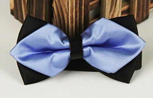 Panegy - Nœud papillon rayé - Lavallière avec double couche - Homme Soirée Businesse Mariage Cérémonie Déco Fête Costume Necktie 6*12cm #3Bleu