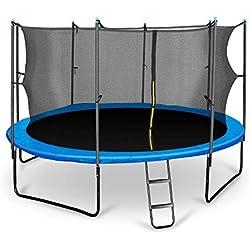 Klarfit Rocketboy 430 Cama elástica trampolin con Red de Seguridad (Superficie Base 430cm diametro, sujecion 4 Patas Doble, Varillas de sujecion Acolchadas, Lona Resistente a los Rayos UV, Protector