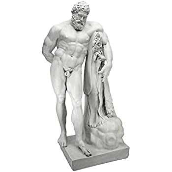 Design Toscano Farnese Hercules Roman God Garden Statue, 76 cm, Polyresin, Antique Stone