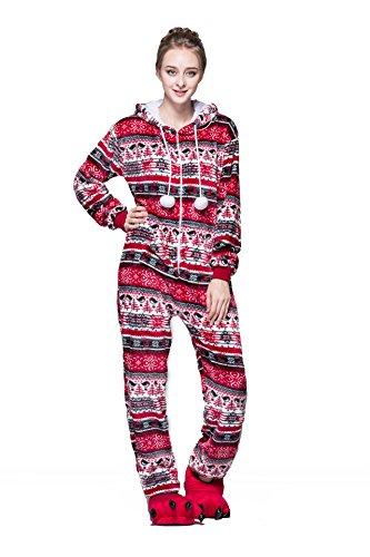 Bel Avril Combinaison Pyjama à capuche, Grenouillères Femme à motif flocon de neige de en flanelle Automne/Hiver Rouge L