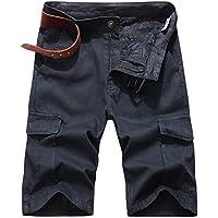 LaiYuTing Summer Men's Youth Wild Pantalones Rectos Casuales De Cinco Puntos con MúLtiples Bolsillos