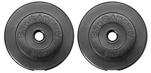 Bad Company Hantelscheiben Kunststoff ummantelt I 30/31 mm I 10 Kg Set (2 x 5 Kg)