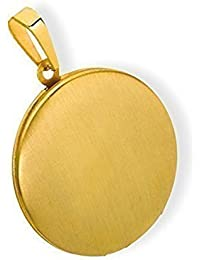 Medaillon rund mattiert Edelstahl für 2 Fotos Anhänger Amulett-PVD Gold