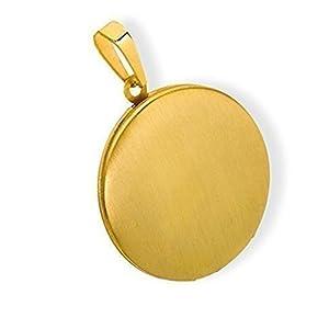 HausderHerzen Medaillon rund mattiert Edelstahl für 2 Fotos Anhänger Amulett-PVD Gold